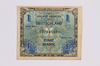 2014.480.117 front German one mark scrip  Click to enlarge