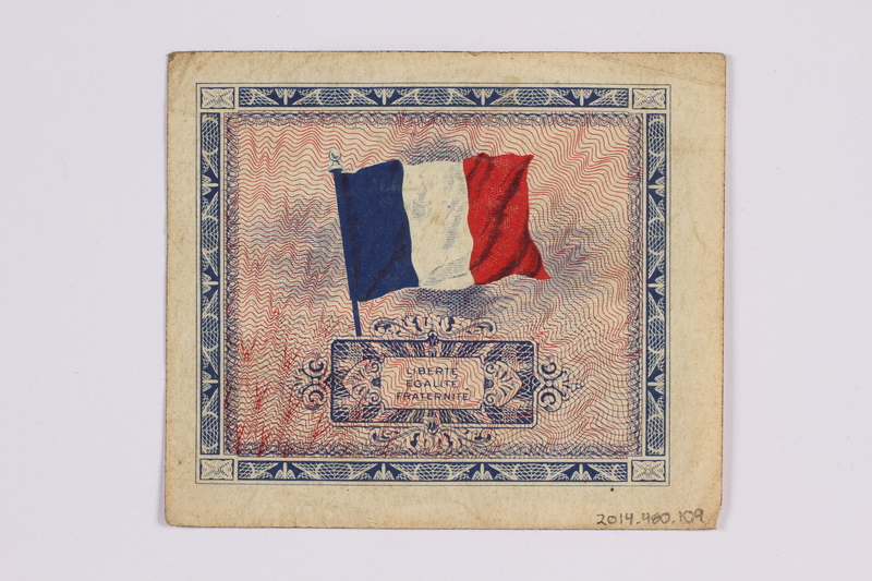 2014.480.109 back French five francs scrip