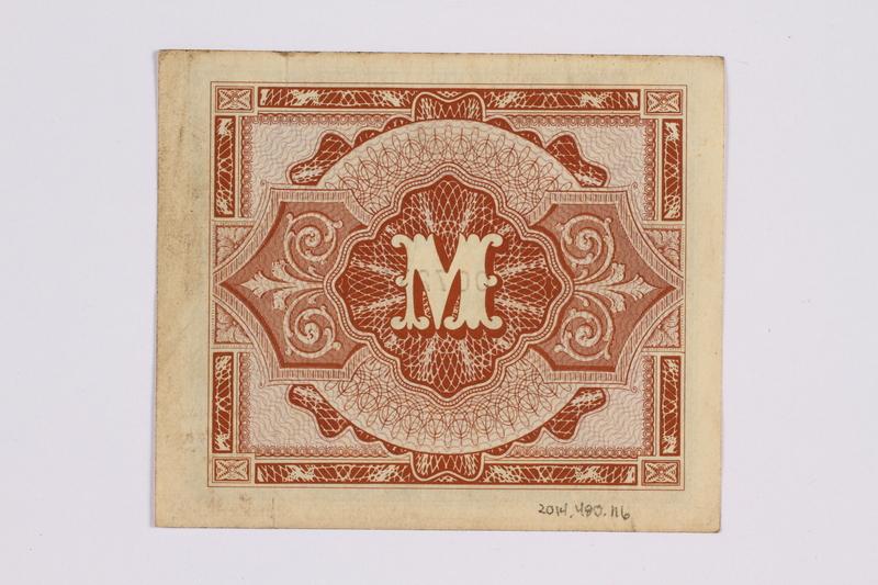 2014.480.116 back German one mark scrip