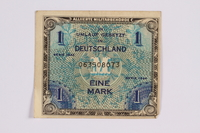 2014.480.113 front German one mark scrip  Click to enlarge