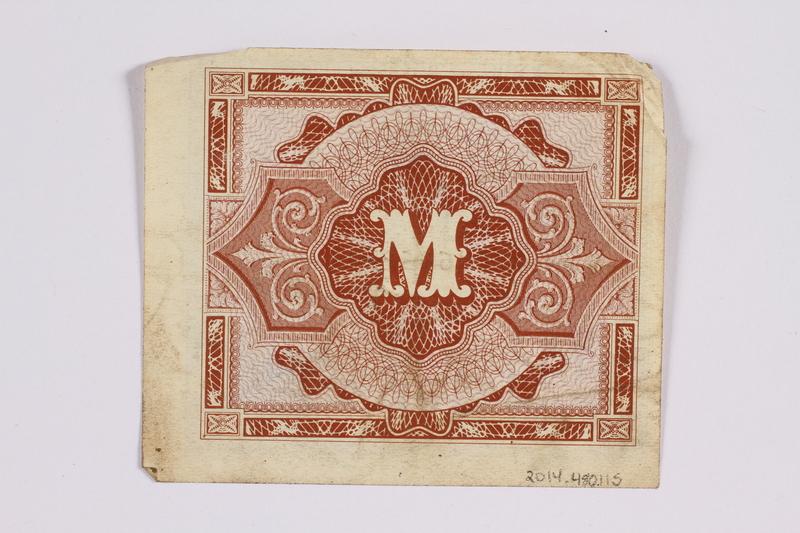 2014.480.115 back German one mark scrip