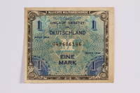 2014.480.112 front German one mark scrip  Click to enlarge