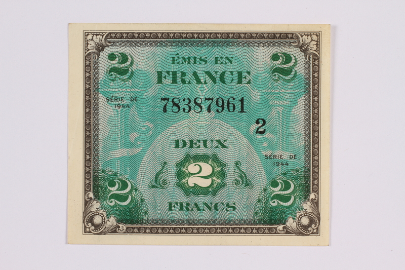 2014.480.105 front French two Francs scrip