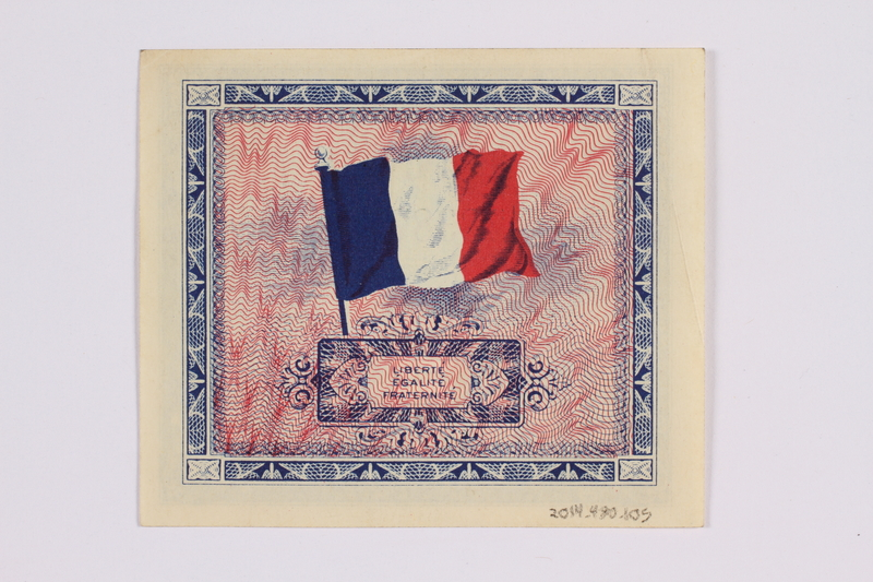 2014.480.105 back French two Francs scrip