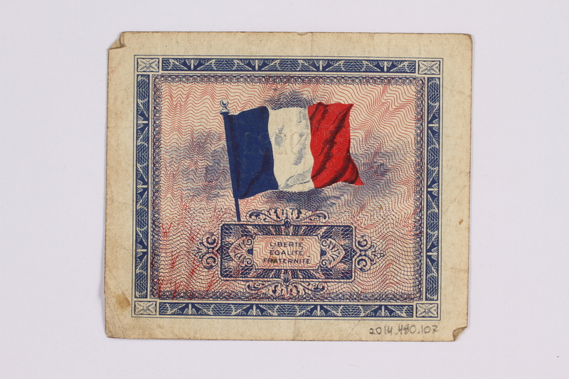 2014.480.107 back French five francs scrip