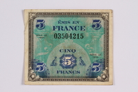 2014.480.108 front French five francs scrip  Click to enlarge