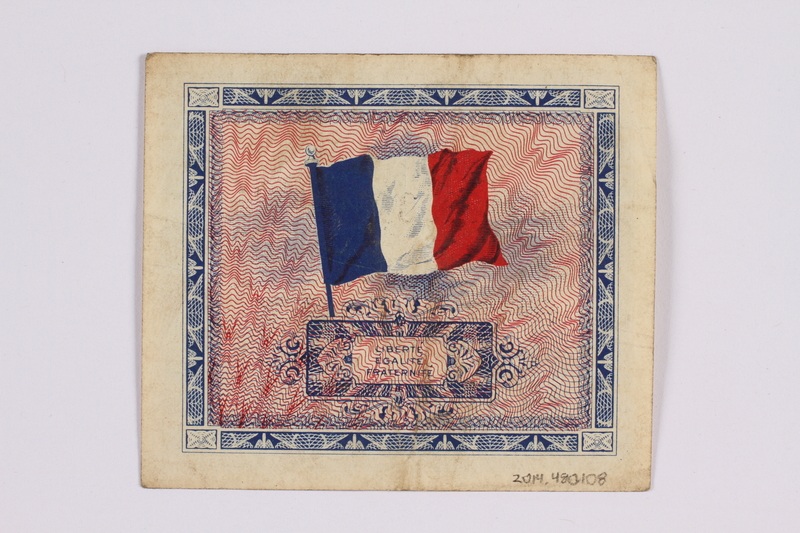 2014.480.108 back French five francs scrip