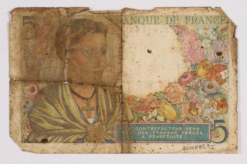 2014.480.92 back French five francs scrip