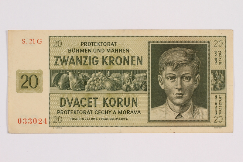 2014.480.91 front Twenty Kronen scrip