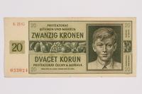 2014.480.91 front Twenty Kronen scrip  Click to enlarge