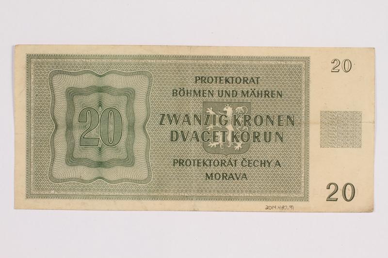 2014.480.91 back Twenty Kronen scrip