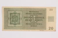 2014.480.91 back Twenty Kronen scrip  Click to enlarge