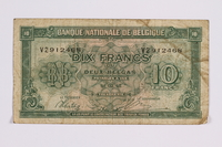 2014.480.95 front Belgian ten francs scrip  Click to enlarge