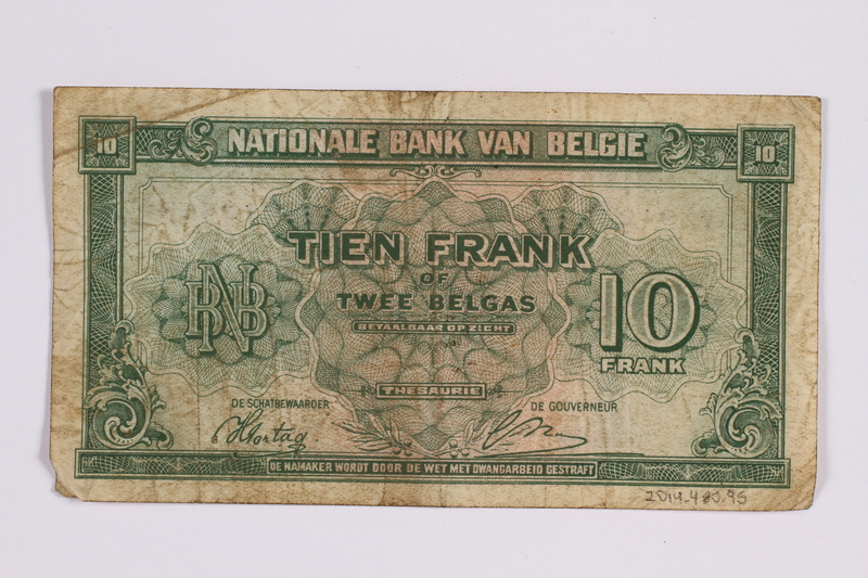 2014.480.95 back Belgian ten francs scrip