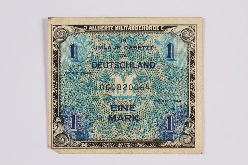2014.480.96 front German one mark scrip