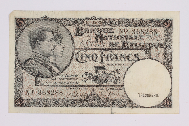 2014.480.97 front Belgian five francs scrip