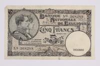 2014.480.97 front Belgian five francs scrip  Click to enlarge