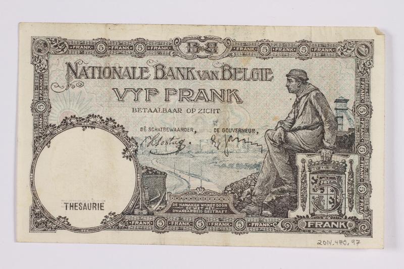 2014.480.97 back Belgian five francs scrip