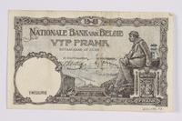 2014.480.97 back Belgian five francs scrip  Click to enlarge