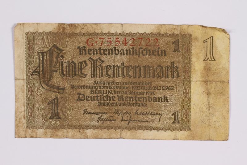 2014.480.101 front German One Rentenmark scrip