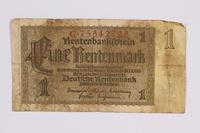 2014.480.101 front German One Rentenmark scrip  Click to enlarge