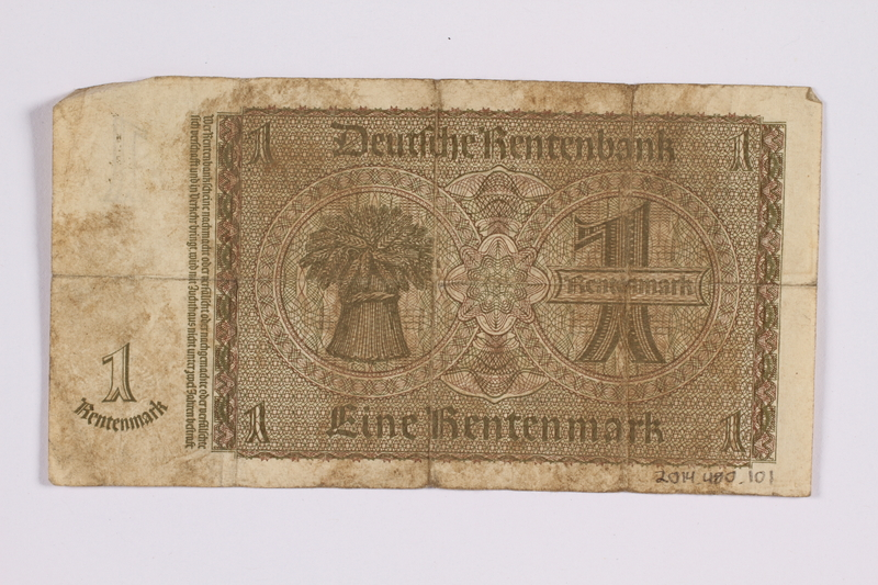 2014.480.101 back German One Rentenmark scrip