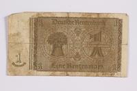 2014.480.101 back German One Rentenmark scrip  Click to enlarge