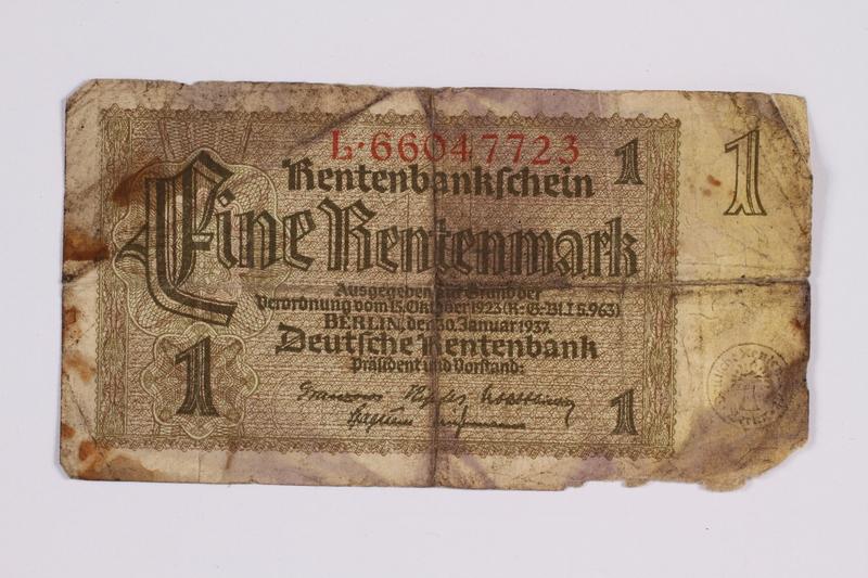 2014.480.99 front German One Rentenmark scrip