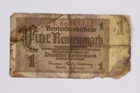 2014.480.99 front German One Rentenmark scrip  Click to enlarge