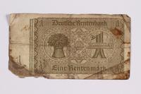 2014.480.99 back German One Rentenmark scrip  Click to enlarge