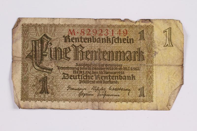 2014.480.100 front German One Rentenmark scrip