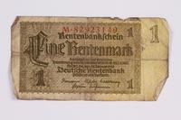 2014.480.100 front German One Rentenmark scrip  Click to enlarge