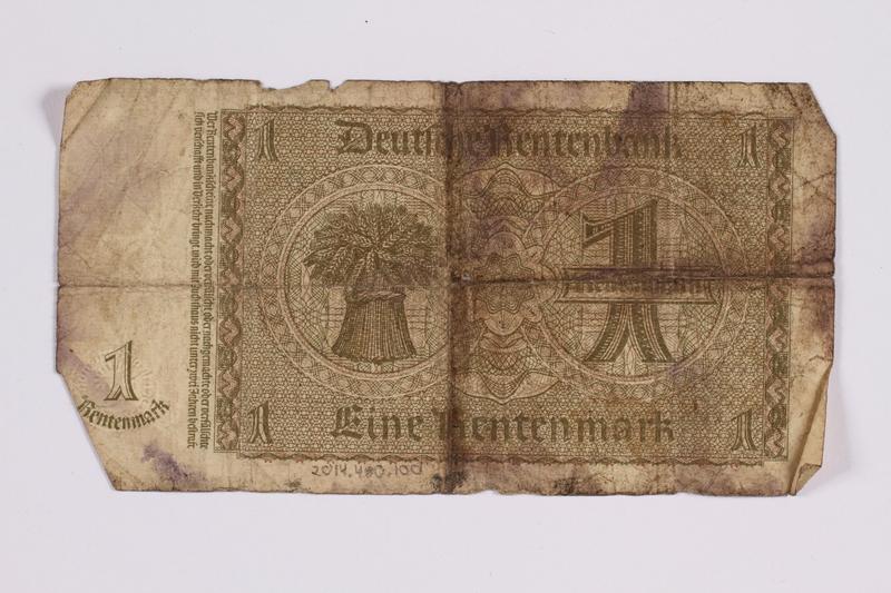 2014.480.100 back German One Rentenmark scrip