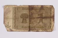 2014.480.100 back German One Rentenmark scrip  Click to enlarge