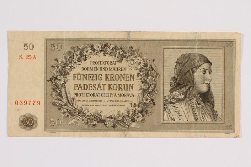 2014.480.87 front Fifty Kronen scrip