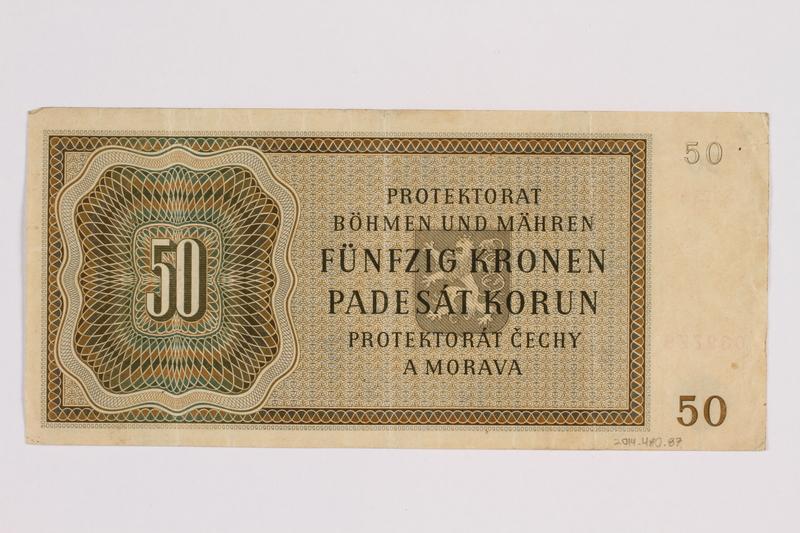 2014.480.87 back Fifty Kronen scrip