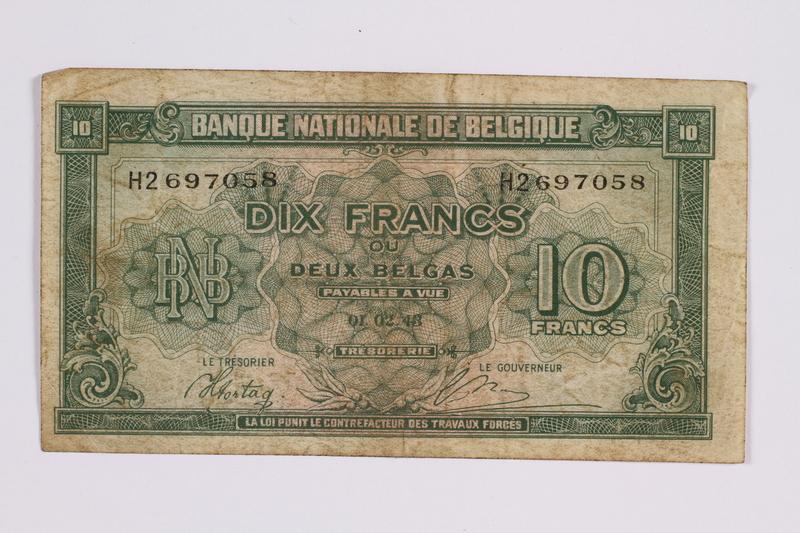 2014.480.93 front Belgian ten francs scrip