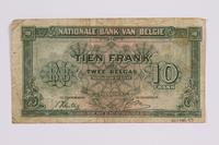 2014.480.93 back Belgian ten francs scrip  Click to enlarge