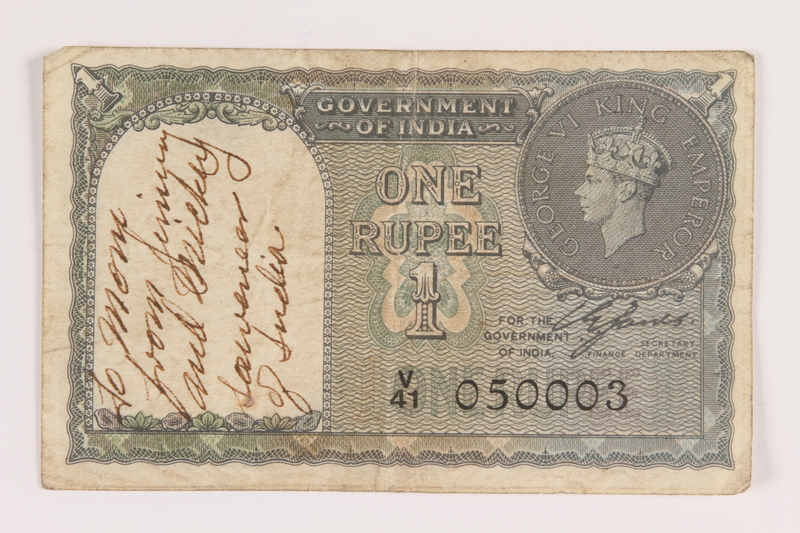 2013.442.13 front British India, one rupee note, inscribed and acquired by a US soldier