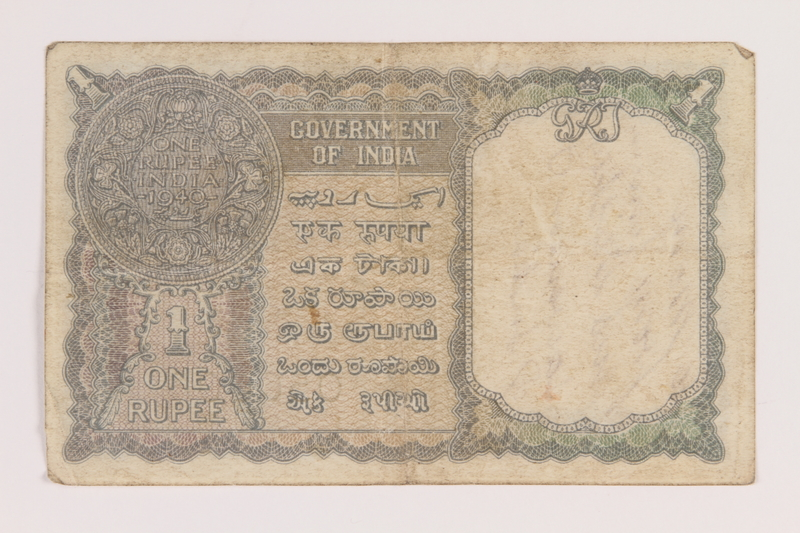 2013.442.13 back British India, one rupee note, inscribed and acquired by a US soldier