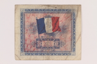 2013.442.18 back Allied Military Authority currency, 5 francs, for use in France, acquired by a US soldier  Click to enlarge
