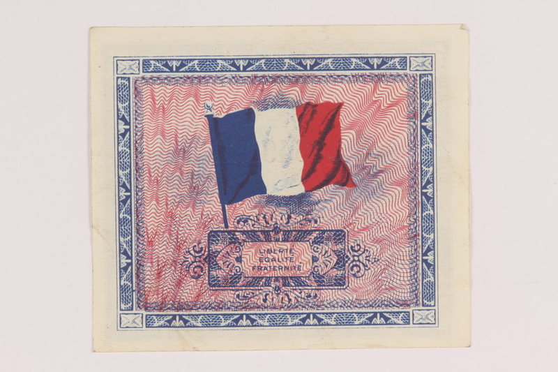 2012.442.19 back Allied Military Authority currency, 2 francs, for use in France, acquired by a US soldier