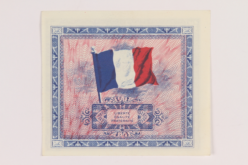 2013.442.20 back Allied Military Authority currency, 2 francs, for use in France, acquired by a US soldier