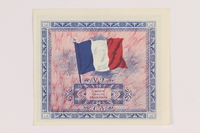 2013.442.20 back Allied Military Authority currency, 2 francs, for use in France, acquired by a US soldier  Click to enlarge