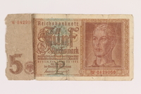 2013.442.23 front Nazi Germany, 5 mark note, acquired by a US soldier  Click to enlarge