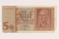 2013.442.24 front Nazi Germany, 5 mark note, acquired by a US soldier  Click to enlarge