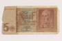 Nazi Germany, 5 mark note, acquired by a US soldier
