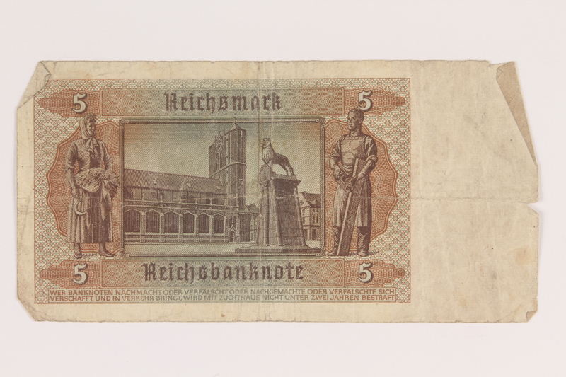2013.442.25 back Nazi Germany, 5 mark note, acquired by a US soldier