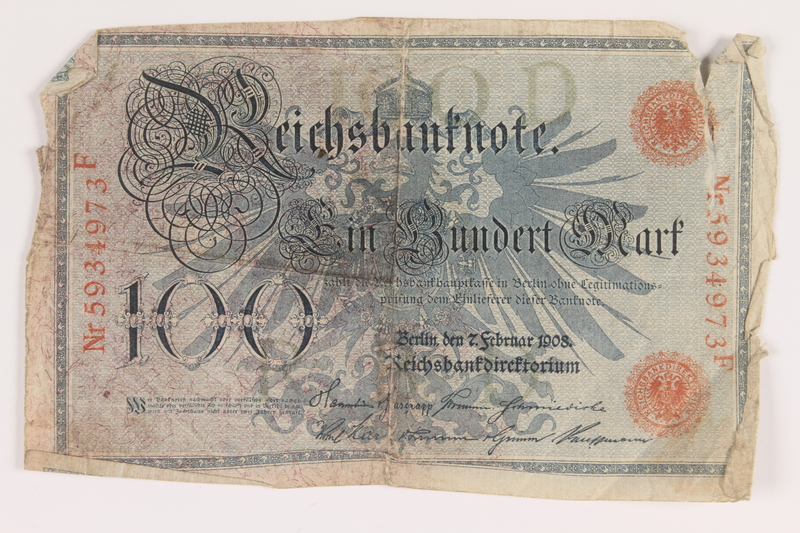 2013.442.26 front Imperial Germany Reichsbanknote, 100 mark, acquired by a US soldier