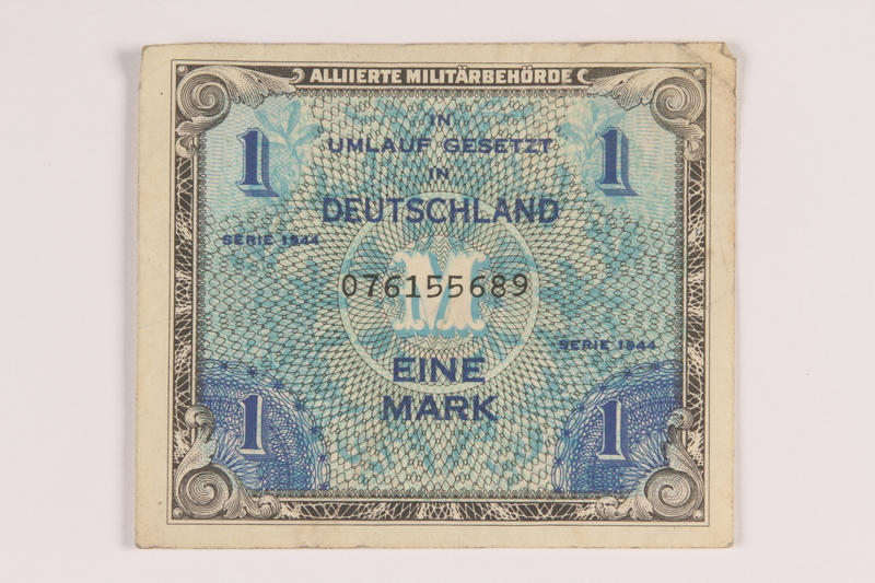 2013.442.27 front Allied Military Authority currency, 1 mark, for use in Germany, acquired by a US soldier